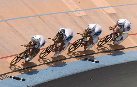 team of track cyclists
