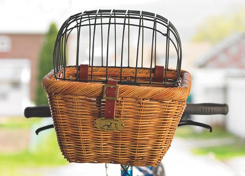 Bicycle basket, Bicycle accessory, Basket, Wicker, Iron, Storage basket, Bicycle wheel rim, Bicycle front and rear rack, Still life photography, Bicycle,