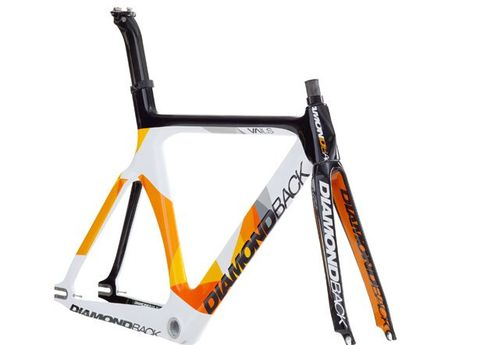 Bicycle frame, Orange, Bicycle part, Bicycle accessory, Line, Font, Bicycle, Bicycle fork, Parallel, Bicycle seatpost,