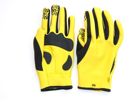 Yellow, Sports equipment, Personal protective equipment, Sports gear, Helmet, Motorcycle accessories, Safety glove, Glove, Plastic, Gesture,