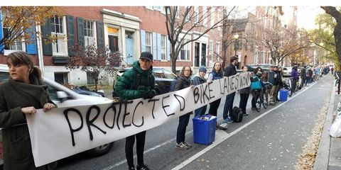 Spruce Street Bike Lane Protest
