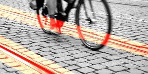 Streetcar Tracks Cyclist