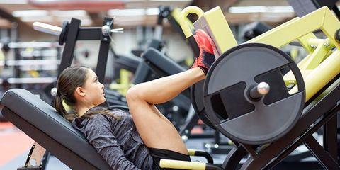 woman doing a leg press