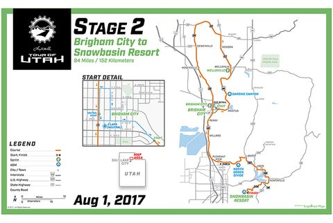 Stage 2: Bringham City to Snowbasin, 94 miles