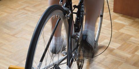 Indoor training riding.