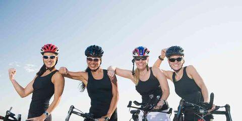 cycling team happy friends