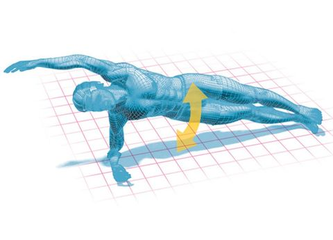 Illustration of a transverse plank exercise.