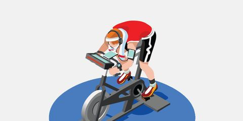 cyclist illustration riding indoors