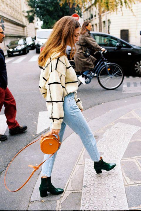 Street fashion, Clothing, Photograph, Jeans, Snapshot, Plaid, Yellow, Footwear, Fashion, Denim,