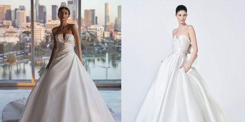 サテンとミカドを使用したシンプルなウエディングドレス