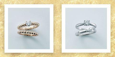 ヴァン クリーフ&アーペルの婚約指輪と結婚指輪の重ね付けリング画像