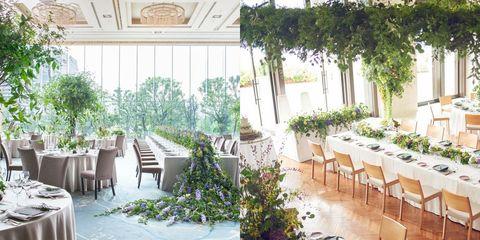 パレスホテル東京とアンダーズ東京のグリーンを使った会場装花の組み合わせ画像
