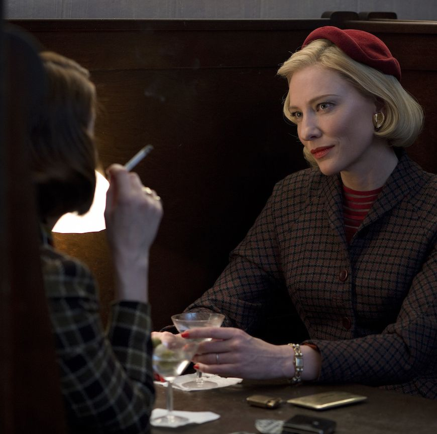 Carol Therese (Rooney Mara) finds herself charmed by an alluring older woman named Carol (Cate Blanchett). The two set out on a road trip on which they consummate an unspoken passion for each other.