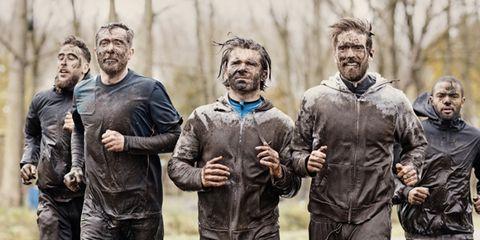 People, Mud, Team, Running,