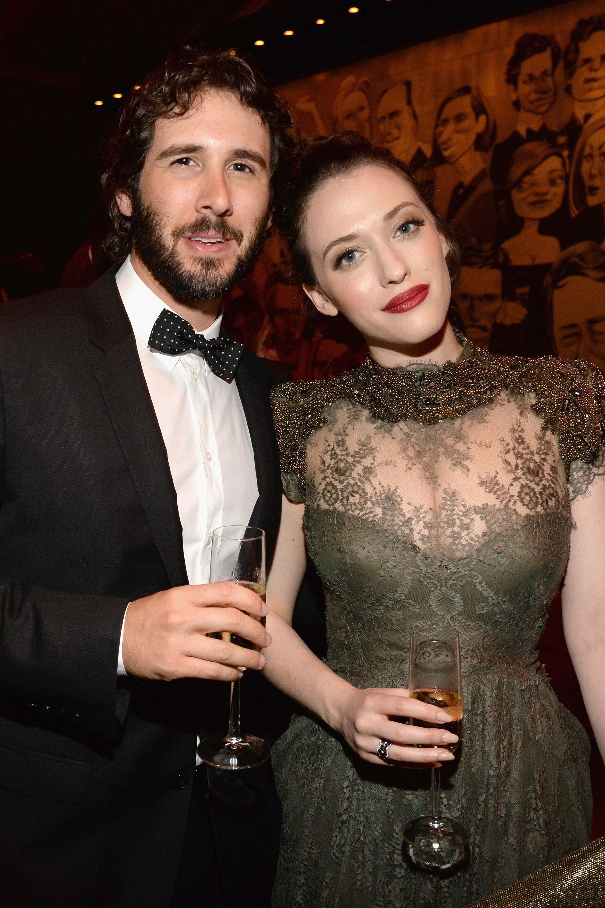 "Josh Groban and Kat Dennings The couple were set up by Dennings' Two Broke Girls costar Beth Behrs, who had been friends with Groban for years. ""I always wanted to find him the right girl. At the time, Kat was in a relationship, so I couldn't. Then they happened to both be single for once at the same time,"" Behrs told People ."