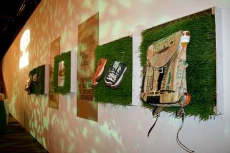 Keen products integrated into an eco-friendly art installation
