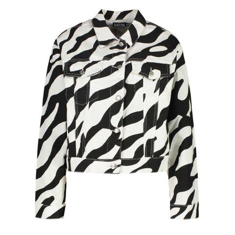 black zebraprint boxy spijkerjas alternatieve