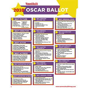 photograph relating to Oscar Ballots Printable titled Oscar Printable Ballot 2010