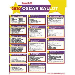 photo regarding Oscar Printable Ballot named Oscar Printable Ballot 2010