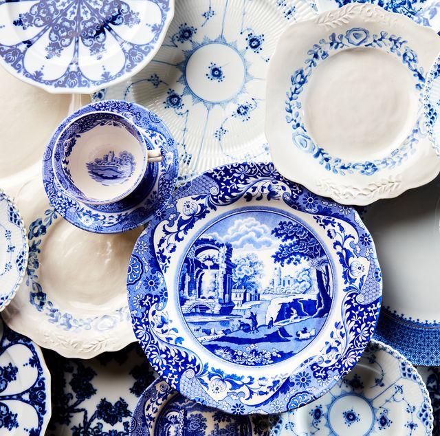 Blue and white dinnerware lead veranda