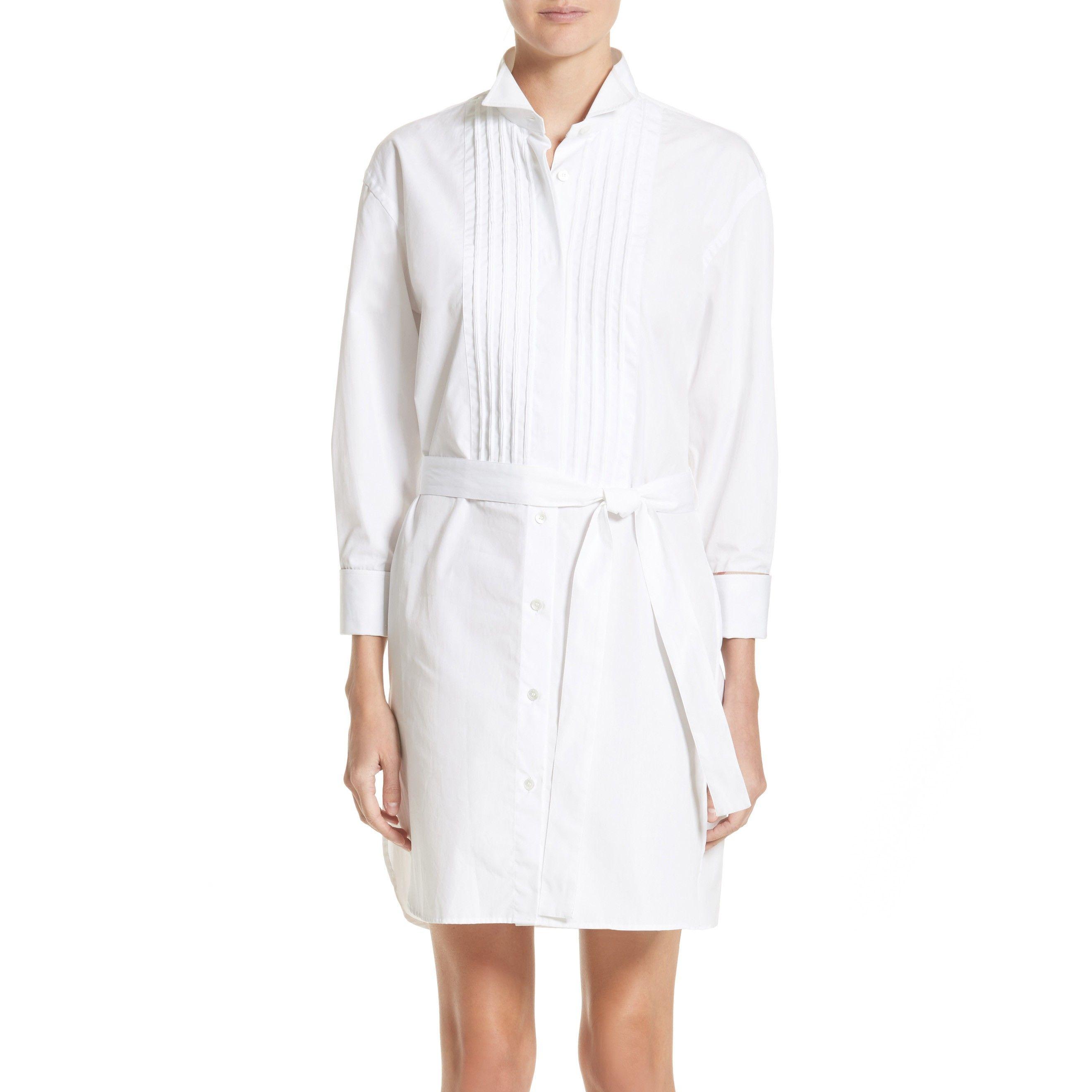 white burberry shirt dress