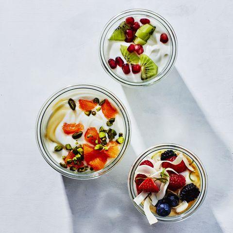 Food, Fruit salad, Cuisine, Dish, Fruit cup, Frozen dessert, Dessert, Ingredient, Ice cream, Parfait,
