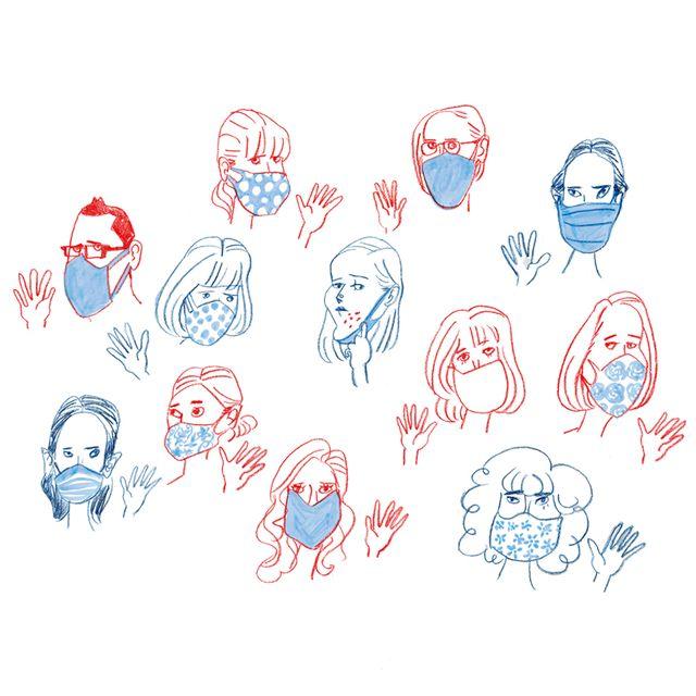 マスクをしている人々