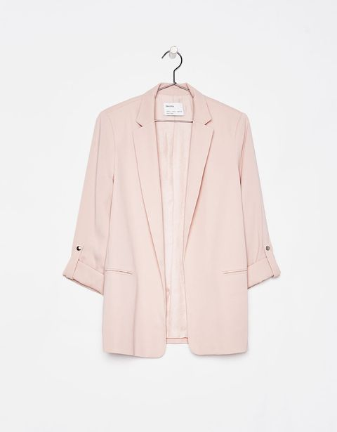 Clothing, Outerwear, Blazer, Pink, Jacket, Sleeve, Beige, Clothes hanger, Top, Suit,