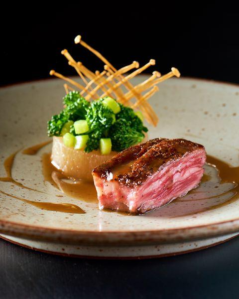 Dish, Food, Cuisine, Ingredient, Tataki, Meat, Produce, À la carte food, Venison, Kaiseki,