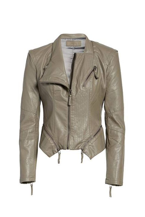 Clothing, Jacket, Outerwear, Leather, Leather jacket, Sleeve, Beige, Brown, Textile, Top,