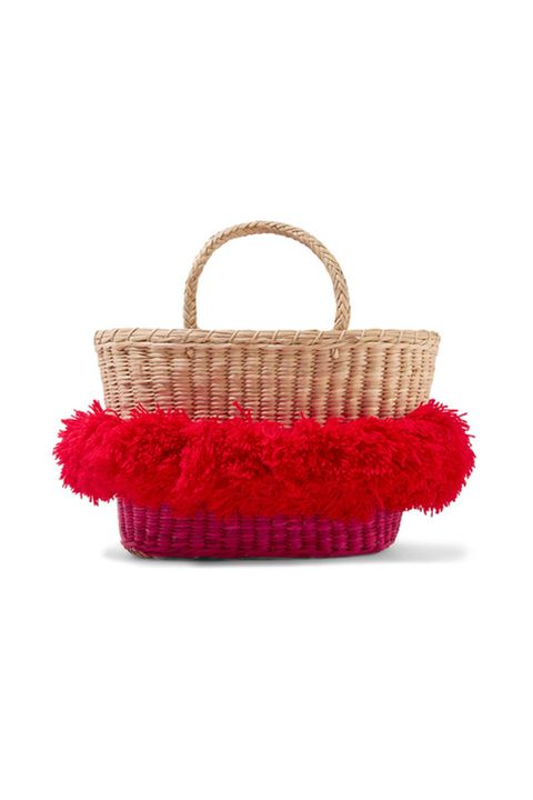 Red, Basket, Wicker, Storage basket, Bag, Handbag, Fashion accessory, Picnic basket, Home accessories, Beige,