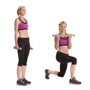 Reverse Lunge with Rotation and Biceps Curl