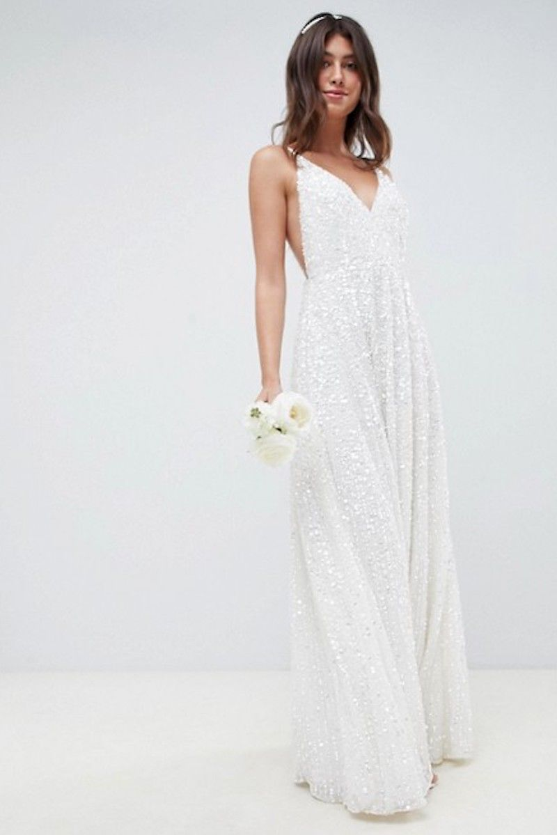 sequin wedding dress - affordable wedding dress