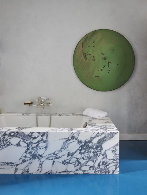 Green, Wall, Room, Table, Interior design, Bathroom, Furniture, Rectangle, Circle, Ceramic,