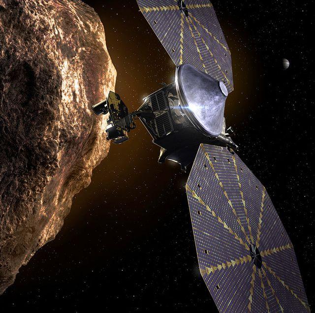 an illustration of nasa's upcoming lucy asteroid mission
