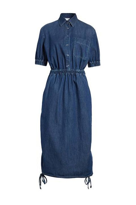 Clothing, Denim, Blue, Day dress, Dress, Sleeve, Jeans, Textile, Outerwear, Collar,