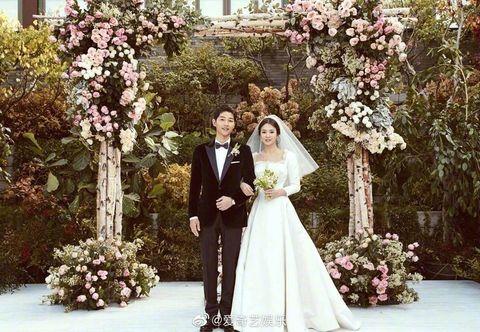 Bride, Photograph, Wedding dress, Ceremony, Dress, Wedding, Gown, Bridal clothing, Pink, Flower Arranging,