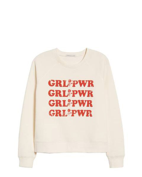 Clothing, White, Sleeve, Sweater, Top, T-shirt, Text, Outerwear, Font, Sweatshirt,