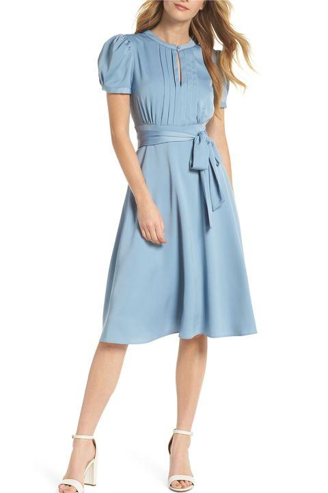 Clothing, Day dress, Dress, Denim, Blue, Sleeve, Shoulder, Waist, Aqua, Pocket,