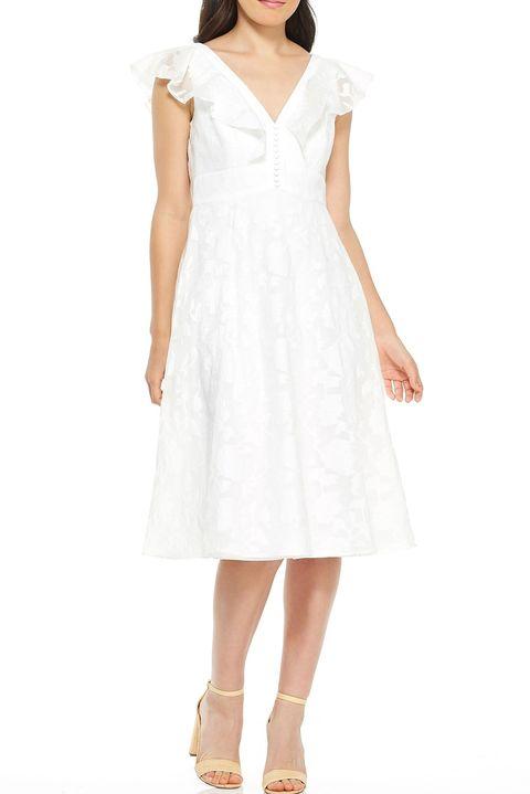 Clothing, Dress, White, Day dress, A-line, Shoulder, Cocktail dress, Sleeve, Neck, Fashion model,