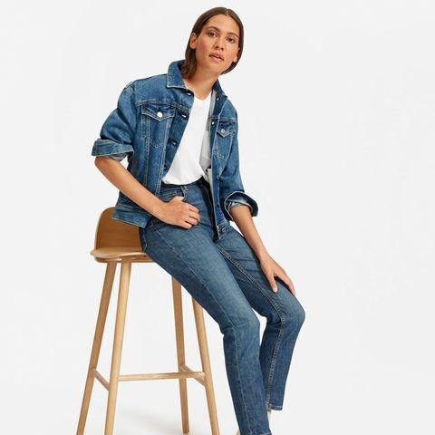 Denim, Jeans, Clothing, Sitting, Blue, Shoulder, Standing, Stool, Textile, Pocket,