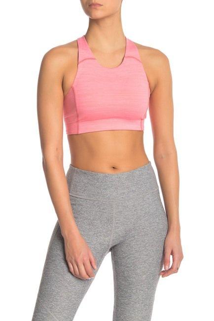 Clothing, Undergarment, Sports bra, Undergarment, Sportswear, Waist, Brassiere, Pink, Crop top, Active pants,