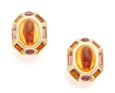 Boucles d'oreilles, pierres précieuses, jaune, bijoux, accessoire de mode, améthyste, violet, ovale, métal,
