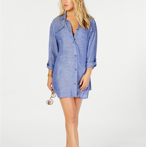 b0245913b5 Dotti On Island Time Cotton Dress Shirt Cover-Up