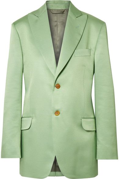 Clothing, Outerwear, Blazer, Jacket, Suit, Green, Formal wear, Button, Sleeve, Top,