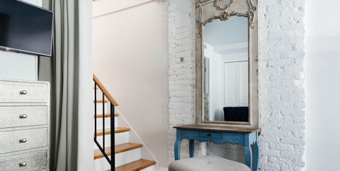 Furniture, Room, Property, Interior design, Shelf, Floor, Building, House, Wall, Stairs,