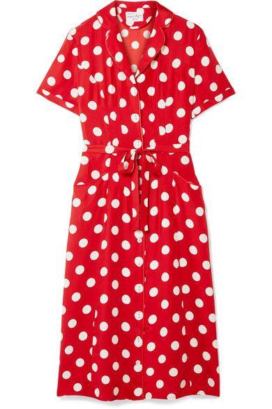 HVN Maria polka-dot silk crepe de chine dress