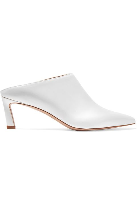 Footwear, White, Slingback, Shoe, Court shoe, Beige, Leather, Slipper, Sandal,