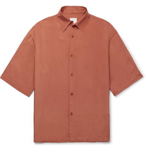 Clothing, Sleeve, Collar, Button, Shirt, Orange, Dress shirt, Outerwear, T-shirt, Beige,