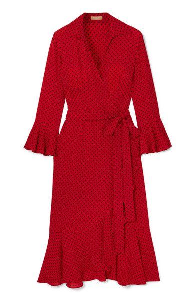 Michael Kors Ruffled polka-dot silk-georgette wrap dress
